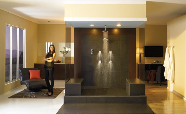woman standing next to luxury shower