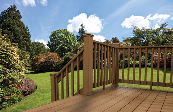 use railings in the same color to match your composite decking